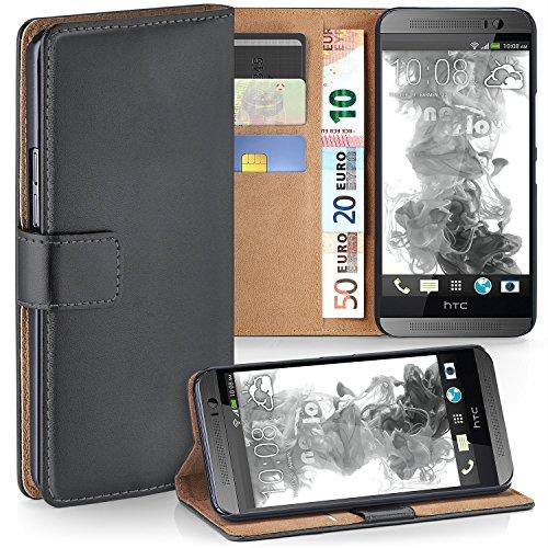 HTC One M8 Hülle Dunkel-Grau mit Karten-Fach [OneFlow 360° Book Klapp-Hülle] Handytasche Kunst-Leder Handyhülle für HTC One M8/M8s Case Flip Cover Schutzhülle Tasche