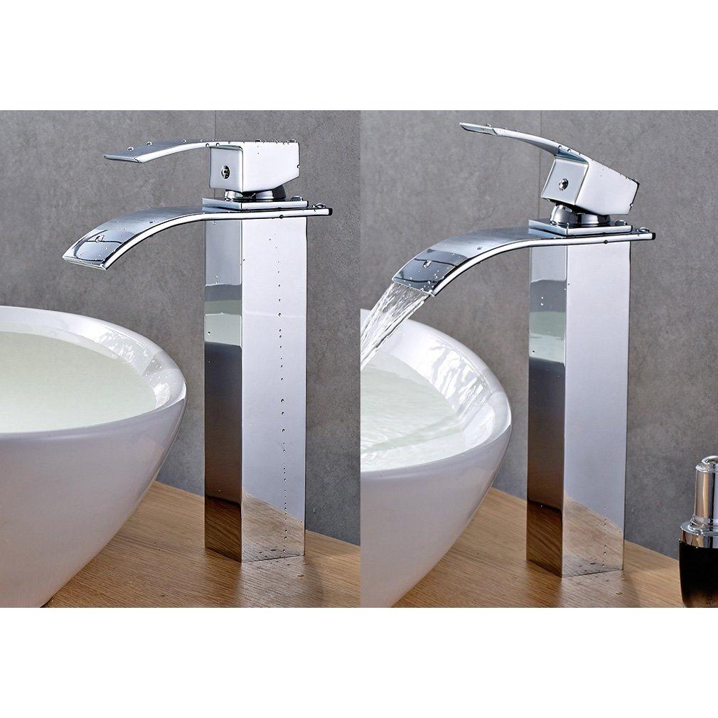 auralum robinet de lavabo salle de bains mitigeur cascade pour vasque chrom robinetterie. Black Bedroom Furniture Sets. Home Design Ideas