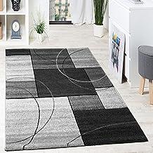 alfombra de diseo con lneas y cuadros de alta calidad antracita crema gris grsse