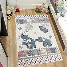 Tapiso HAPPY Kinder Teppich Kurzflor Modern Kinderteppich In Creme  Mehrfarbig Mit Elefanten Muster Spielteppich Für Kinderzimmer