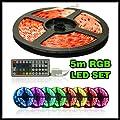 KOMPLETT SET RGB LED strip Leiste wasserdicht 5M inkl. 44-Tasten Fernbedienung+Controller+Netzteil Streifen Leiste 5 Meter Lichtschlauch Lichterkette Party Deko Lichtband von Tuningmods® auf Lampenhans.de