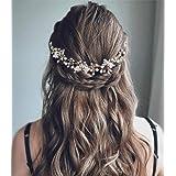Unicra - Pettine per capelli da sposa, con cristalli, accessori per capelli da sposa, per donne e ragazze, colore: argento