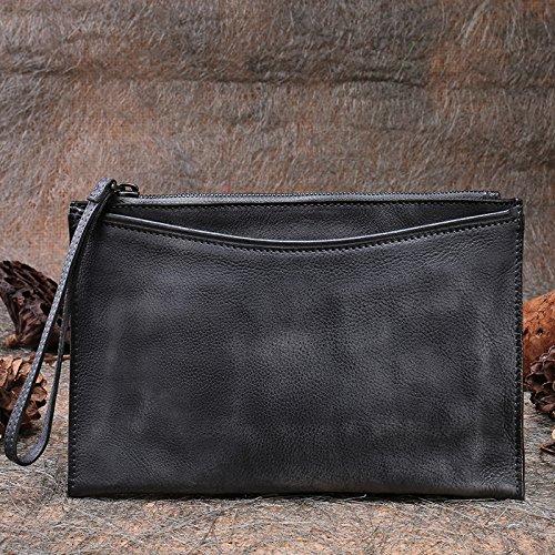 Nouveau cuir faits à la main en cuir vintage d'origine atmosphérique simple sac sac à main enveloppe Gray