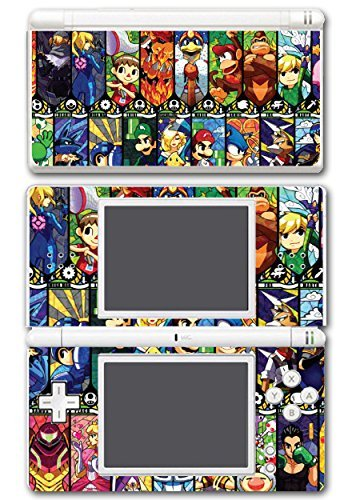 Super Smash Bros Melee Brawl Mario Pikachu Yoshi Mega Man Zelda Sonic Metroid Stained Glass Art Video Game Vinyl Decal Skin Sticker Cover for Nintendo DS Lite System by Vinyl Skin Designs - Mario Und Sonic Ds