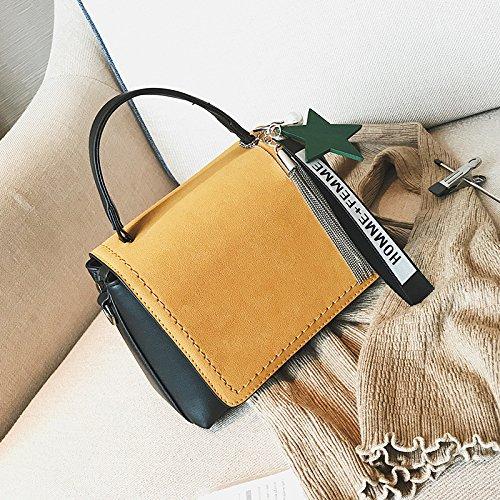 Pacchetto LiZhen autunno femmina nuovo stile Coreano a due lati opaca partito piccole confezioni Borsetta piccola confezione tracolla messenger bag, giallo con decorazioni Giallo con decorazioni