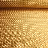 Stoff PVC Kunstleder Raute gold glänzend Pyramide Leder Skai geprägt