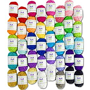 Pack essentiel de pelotes de laine bonbon - 40 pelotes de laine en acrylique – Assortiment de couleurs – Idéal pour tout projet de tricot et de crochet