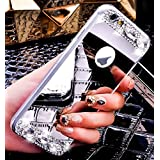 iPhone 6S Coque en Silicone Diamant,iPhone 6 Étui Souple Luxe,JAWSEU 2017 Neuf Ultra Slim Cristal Clair Bling Brillant Miroir Placage TPU Téléphone Coque Coquille de protection pour Femme Fille Luxury Flex Soft Gel en Caoutchouc Bumper Shockproof Anti Scratch Housse Sparkle Pailletee Strass Rigid Back Cover pour iPhone 6/6S 4.7+1*Noir Stylo Paillettes-argent