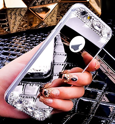 iPhone 6S Plus Hülle,Silikon Hülle für iPhone 6 Plus,JAWSEU Luxus Bling Glitzer Ring Fingerhalterung Ständer Mirror Spiegel Zurück Rückseite Full Bumper Case Rose Gold Glänzend Strass Diamant Weiche S Silber,Strass