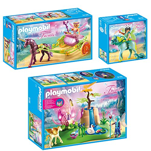 PLAYMOBIL-Fairies-set-en-3-parties-9135-9136-9137-Lumires-bloom-de-fe-bbs-Fleur-Fe-avec-licorne-carriage-Eau-Fe-avec-cheval-Aquarius