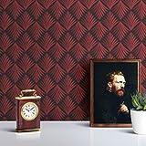 klassische Tapete 'Art Deco Akanthus' mit Blatt Muster in grau rot angepasst an Little Greene Wandfarben- Vlies Tapete Grafisch - extravagante üppige Wanddeko - GMM Design Tapete - Wandtapete - Wand Dekoration für edle Wohnakzente (Muster 20 x 46,5cm)