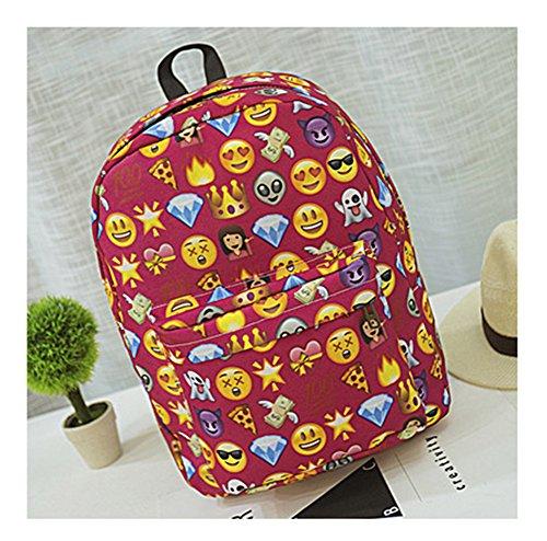 qq-smile-face-emoticon-print-backpack-womens-travel-shoulder-school-canvas-book-bag-rucksackred