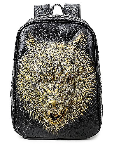 Bookbag Gold (antaina Gold 3D Wolf Kopf geprägte Rucksack personalisierte Rivet Punk PU Laptop Schultasche Bookbag)