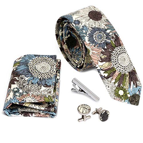 Bundle Monster 4pc Floral Design Matching Pattern Mens Fashion Accessories Set