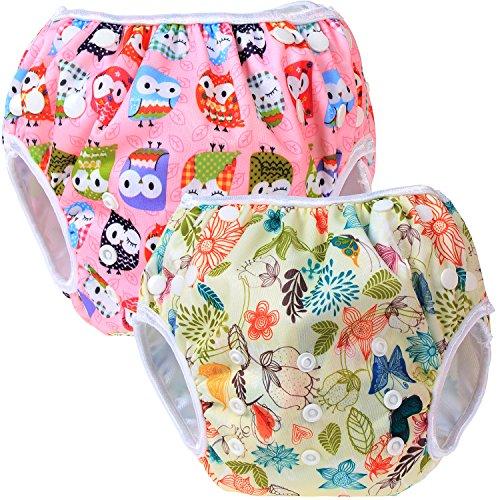 Teamoy 2-teilig Baby Schwimmhose, Bequem, waschbar und verstellbar, ideal für Schwimmen Lektionen oder Urlaub (Jungle+ Owls Pink)