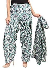 BILOCHI'S Women Printed Solid Cotton Full Patiala Salwar With Dupatta Set(Free Size,Multi Color)