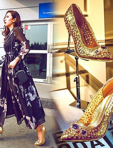 WSS 2016 Chaussures Femme-Habillé / Soirée & Evénement-Or-Talon Aiguille-Talons / Gladiateur / Bout Pointu-Talons-Microfibre golden-us8 / eu39 / uk6 / cn39