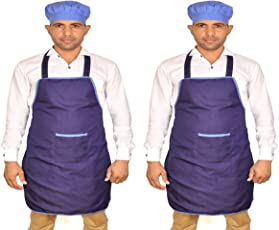 Switchon Waterproof Blue Apron with Cap Pack of 2