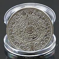 Rivalty (TM) nuovo placcato argento Maya calendario azteco moneta commemorativa Souvenir collezione - Calendario Maya