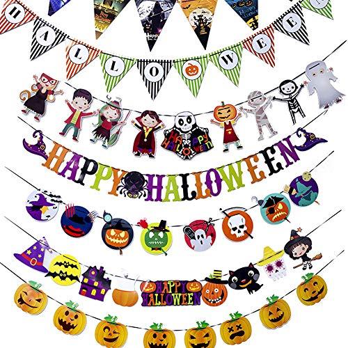 CQ Wimpelkette Stoff Halloween Ghost Party Horror Dekoration hängende Flagge,06