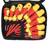 KKmoon 10pcs Kit de Destornillador con brocas magnéticas ranuradas y Phillips Bits Grips Herramientas de reparación de trabajo eléctrico para electricistas