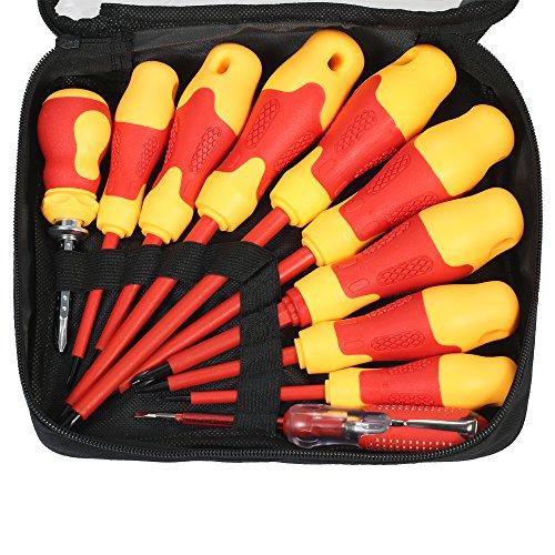 KKmoon 10pcs Kit de Destornillador con Brocas Magnéticas Ranuradas y