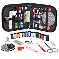 Coquimbo Mini Sewing Kit Accessories Portable Sewing Set with Carrying Case for Home, Travel, Adults, Beginners, Kids, Emergency Use (Black)