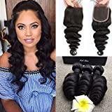 Full Shine (18'18'18'+12'4*4 Lace Closure) Free Part con Pelo Bebe Natural Hairline Brasileno Virgen Pelo Weave Ondulado/Loose Wave 300g 7A Que Teje el Pelo Brasileno Natural Negro