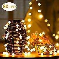 10m LED Guirlande lumineuse à Piles 80Petits Boules Blanc chaud Décoration romantique pour Fête Noël Mariage Anniversaire Soirée Party Décor Chambre Maison Jardin Terrasse Pelouse(Blanc Chaud)