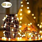Cookey Luces de la Cuerda de la Bola - Bombilla Pequeña 12m USB Operated Globe Fairy Light - Perfecto para Interiores, al Aire Libre, Jardín, árbol de Navidad, Fiesta, Festival, Decoración de Boda (Blanco cálido)