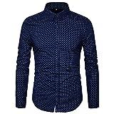 AIYINO Herren Freizeit Hemd Kariert Drucken Kontrast 100% Baumwolle Business Langarmshirts 13 Farben(Large, 17-Navy)