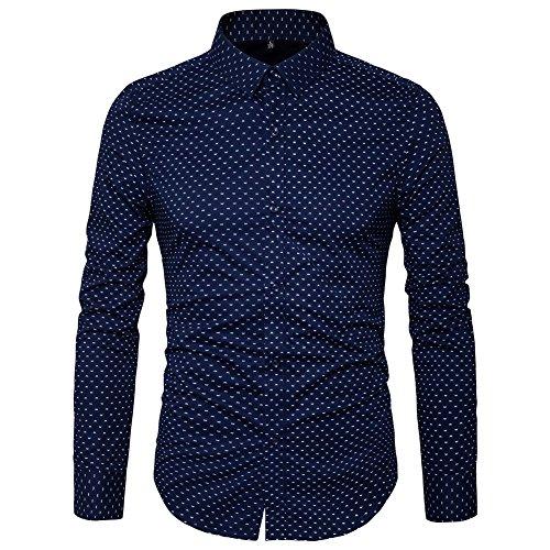 AIYINO Herren Bedruckte Hemd Langarm Baumwolle Freizeit Slim Fit (X-Large, 17-Navy)