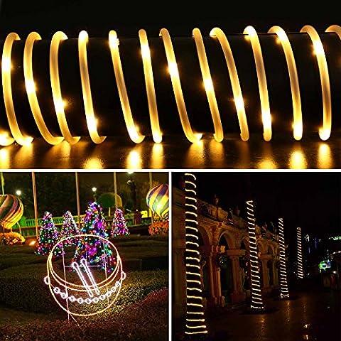 Qedertek Solar Lichterkette, Lichtschlauch, 100 LEDs, 12 m/39 ft, Wasserdicht, Dekoration für Weihnachten Garten Yard Weg Zaun Baum Hinterhof usw. (warmweiß)
