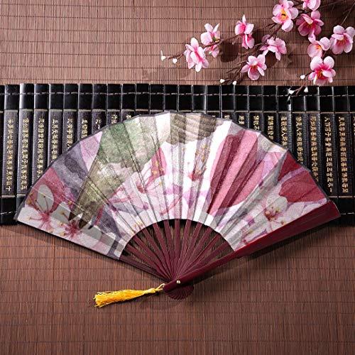 EIJODNL Chinesische Kung Fu Fan Garten Fahnen und Yard benutzerdefinierte Fahnen Banner X mit Bambus Rahmen Quaste Anhänger und Stoffbeutel Fan Hand Männer Faltfächer Werk Faltfächer bunt