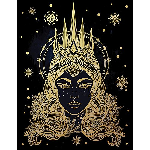 Pitaara Box Fantasy Snow Queen Portriat Canvas Painting MDF Frame 16 X 20.8Inch (Queen-size-split-box)