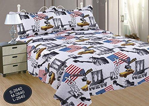 ForenTex- Colcha Boutí, (L-2640), cama 150 cm, 240 x 260 cm, Estampada cosida, New York, +2 cojines, colcha barata, set de cama, ropa de cama. Por cada 2 colchas o mantas paga solo un envío (o colcha y manta), descuento equivalente antes de finalizar la compra.