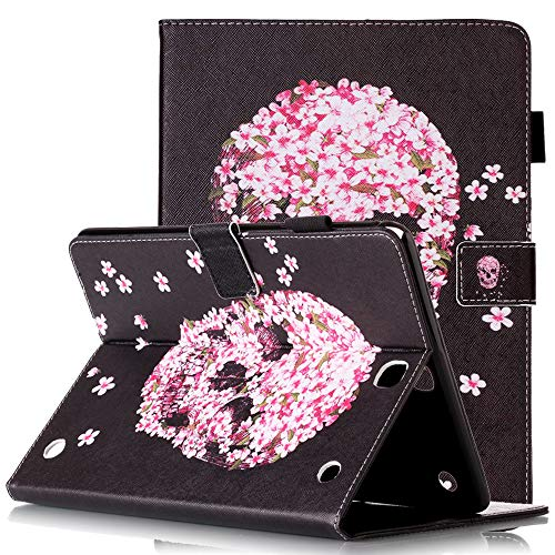 9.7 SM-T550 Tablet Hülle 2015 Schutzhülle Leder Smart Card Case mit Auto Sleep/Wake Stylus Pen Holder Cute Cartoon Flip Stand Cover for Samsung SM-T555, Pink Flower Skull ()
