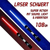 2 x Laserschwert Lichtschwert Sound Licht Vibration 108 cm je 1 Lichtschwert in blau und rot