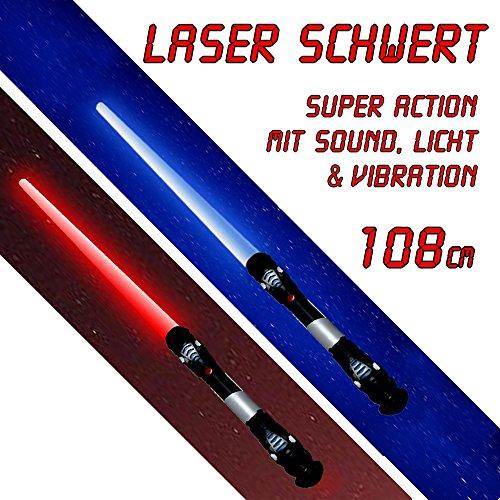 htschwert Sound Licht Vibration 108 cm je 1 Lichtschwert in blau und rot (Authentische Jedi-kostüme Für Erwachsene)