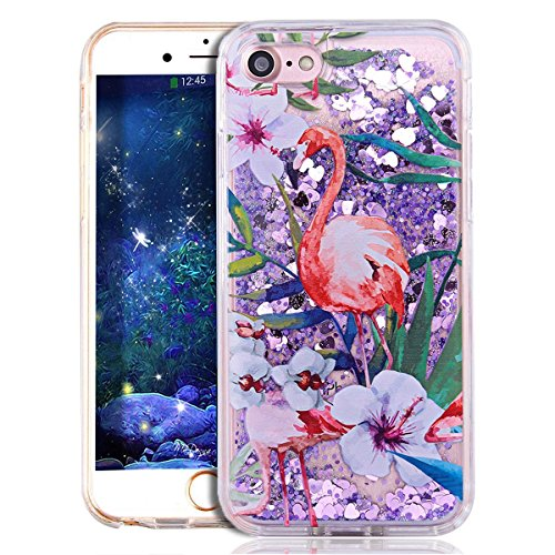 iPhone 7 Case for Girls,iPhone 7 Coque Anti chock Plastic Liquide Coque Bling Flash Etui Case Cover pour iPhone 7 4.7 Pouce,iPhone 7 Coque Transparente,iPhone 7 Coque Bling Diamant Cœur Etui Housse Co Flamingo 5
