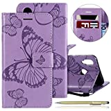 Kompatibel mit Leder Handy Schutzhülle Huawei P20 Lite Lederhülle Schmetterling Muster Leder Handyhülle Handytasche Brieftasche Ledertasche Bookstyle Flip Case Cover Klapphülle,lila