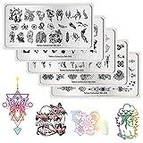 NICOLE DIARY Stempeln Platten Tattoo Nagel Stamping Vorlagen Einhorn Geometrische Schädel Bild Rechteck Nail Art Print Werkzeug Maniküre Stempel polnischen Bild Platten (5 Muster)