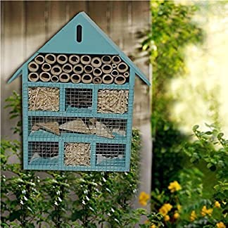 WOODEN LARGE BLUE INSECT BUGS GARDEN HANGING HOTEL HOME BEES LADYBIRD NEST BOX HOUSE WOODEN LARGE BLUE INSECT BUGS GARDEN HANGING HOTEL HOME BEES LADYBIRD NEST BOX HOUSE 61lLU6VKv5L