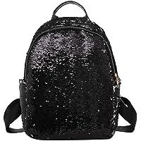 NEOMIO Glitter Sequins Women Party Shoulder Handbags Girls Casual Travel Backpacks(Black 30L)