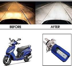 Vheelocityin Blue Cut Hi Low Beam H4 Bike Bulb Motorcycle LED Headlight Bulb For Hero Motocorp Maestro Edge