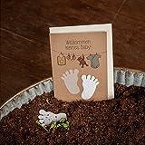Karte zur Geburt - Klappkarte mit Babyfüßen - mit eingearbeiteten Wildblumensamen - Glückwunschkarte zur Geburt eines Kindes