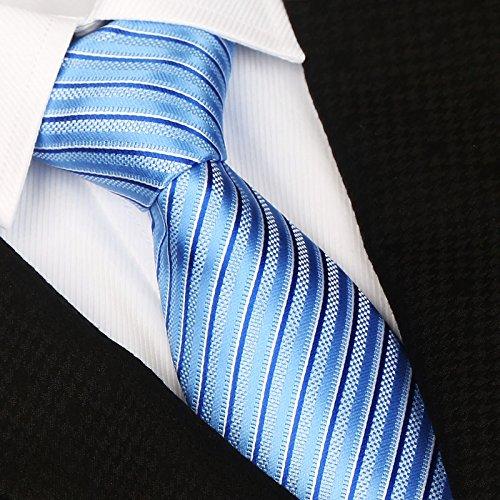 WUNDEPYTIE Krawatte Seide Seide Herren Business Work Professional Stripes, Blue Q} Blue Stripe Bow Tie