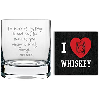 YaYa cafe Good Whisky is Barely Enough Engraved Whiskey Glass with Quotes Slogan Coaster, 325ml, Transparent