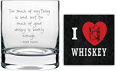 YaYa cafe Good Whisky Is Barely Enough Engraved printed whiskey glass set of 1 with Quotes Slogan
