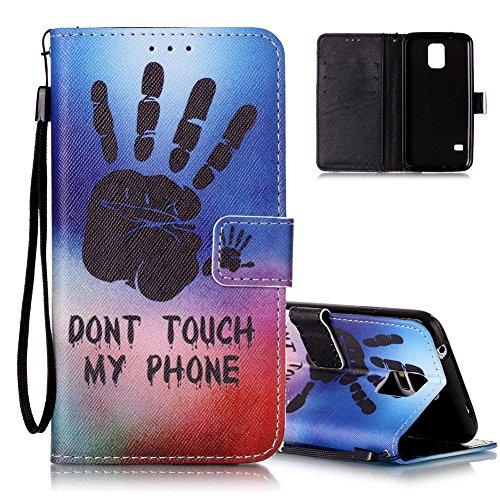Galaxy S5 Ledertasche,Flip Schutzhülle für Samsung Galaxy S5/S5 Neo, Aeeque® [Hand Sprichwort Muster] Kartenfach Standfunktion mit Schwarz Abnehmbar Handy Lanyard und Weich Silikon Innere Handytasche